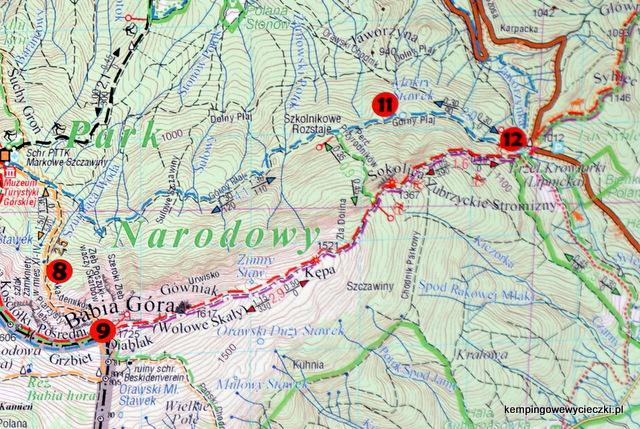 mapa szlaków na Babią Górę