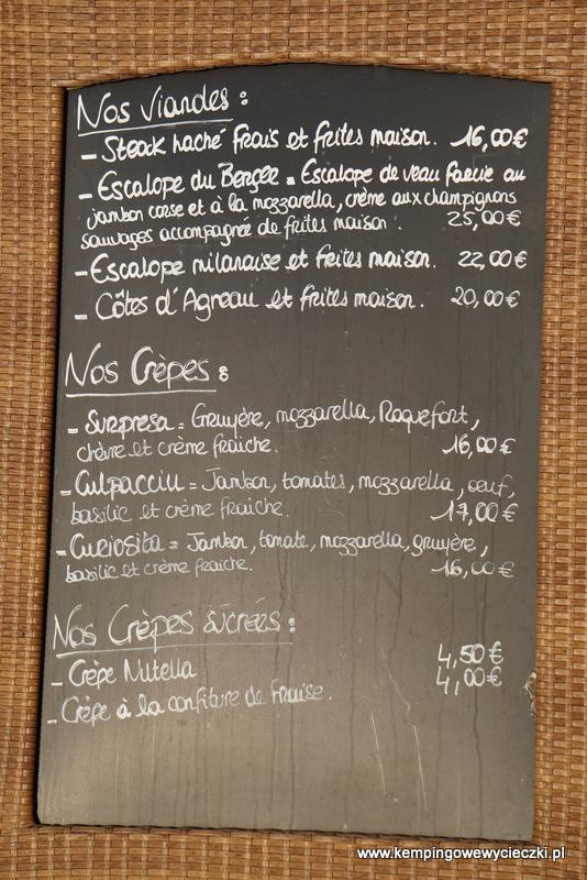 menu restauracji Le Petit Chose
