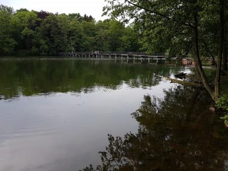 Kładka przez jezioro łącząca Park Miłości i Zamek