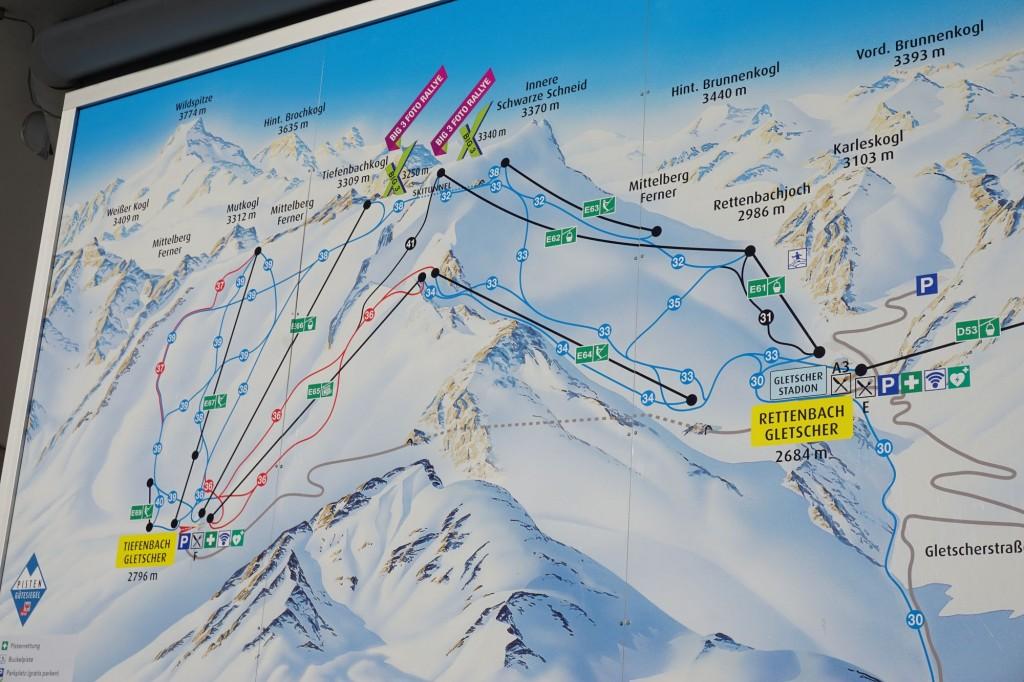mapa lodowce Tiefenbachkogl i Rettenbach