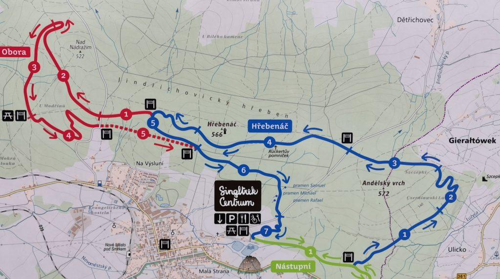 Singletrack trasa Modra (niebieska) i czerwona